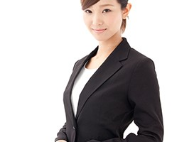 asian businesswoman on white background